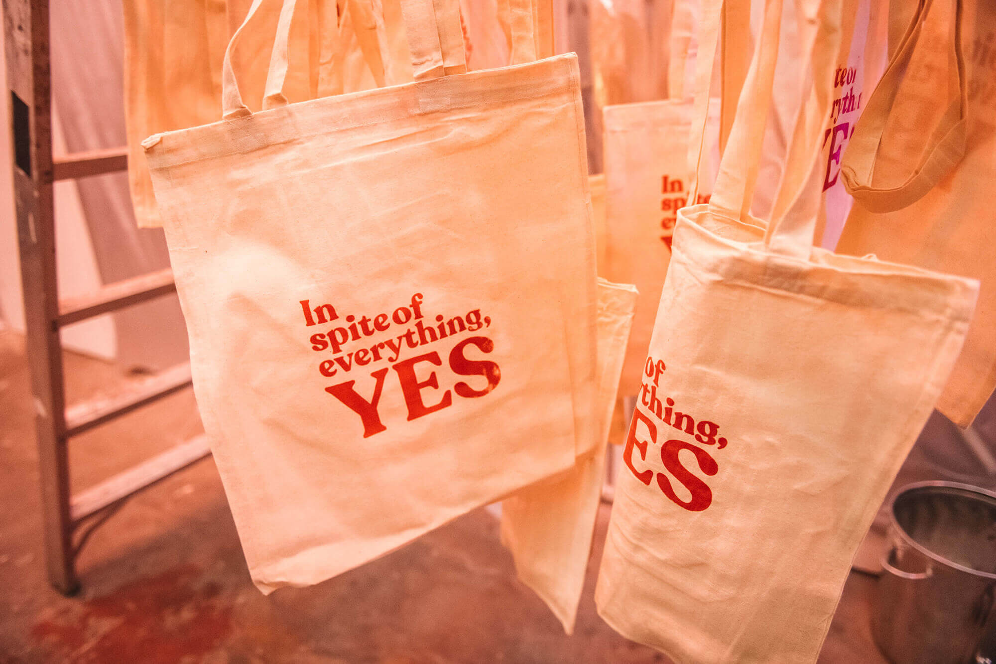 Tote bags at City Night's Party at the Silver Factory, 1966