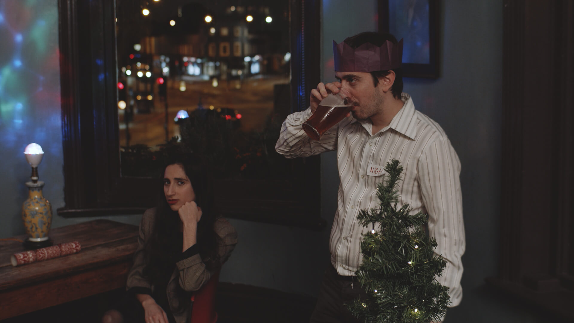 People drinking at the City Night's Office Christmas Party